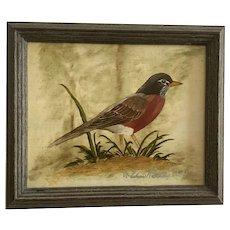 Thelma Rathke (1933-2015) American Robin Bird Oil Painting