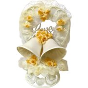 Vintage Wedding Cake Topper, Amidan's, Love & Bells Yellow Ribbon and Flowers Hand Made 1980's Never Used Shabby Chic