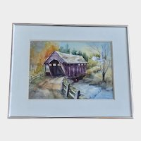 Mary Lou Rose, Vermont Covered Bridge Watercolor Painting Colorado Artist
