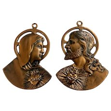 Vintage Jesus and Mary Religious Copper Wall Hangings Plaques