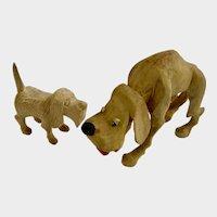 Vintage Hound Dogs Hand Carved Wood Folk Art Sculptures