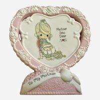 Enesco Valentine Precious Moments Mother Sew Dear Ceramic Heart Figurine PM 1995