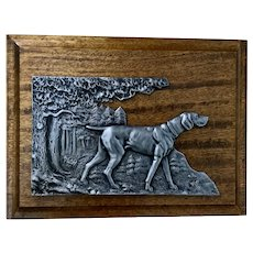 Jitke Schaffer Hunting Dog Relief Wall Plaque Pewter and Hardwood 1966