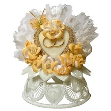 Vintage Wedding Cake Topper, Amidan's, Heart & Butterfly Peachy Orange Ribbon, Flowers and White Lace Hand Made 1980's Never Used Shabby Chic