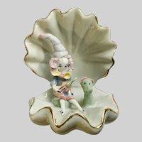 Vintage Clam Shell Violin Girl with Dog Figurine Italian