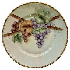 Vintage Grape Vine Plate Hand Painted Porcelain