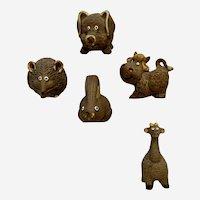 Vintage Brown Clay Cute Animal Hand Painted Figurines