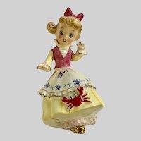 Vintage Ucagco Startled Crab Girl Porcelain Figurine
