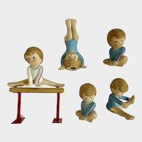 Gymnast Gymnastics Girls Practicing Figurine Set Enesco