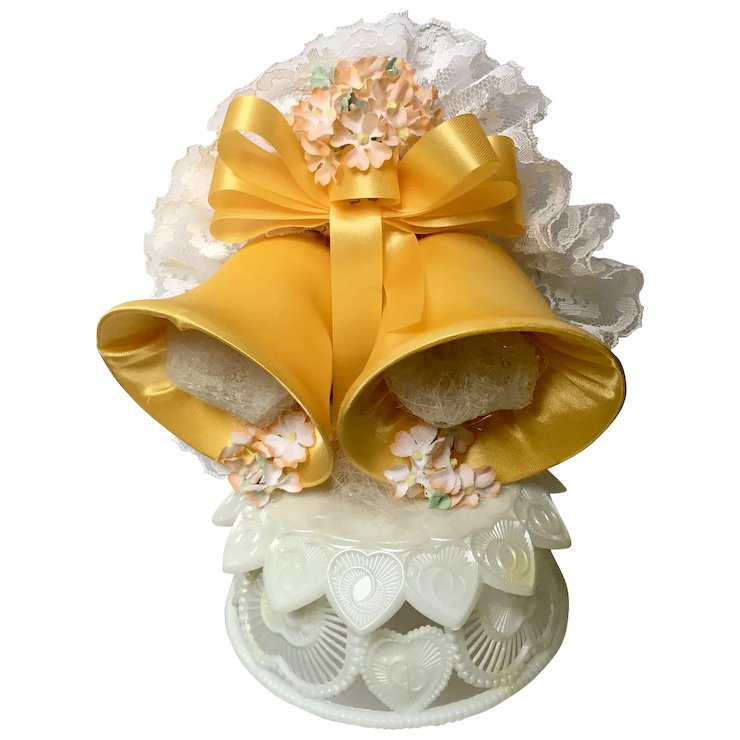 Vintage Wedding Cake Topper, Amidan\'s, Two Satin Yellow Bells ...