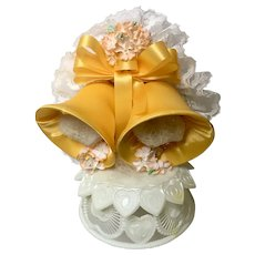 Vintage Wedding Cake Topper, Amidan's, Two Satin Yellow Bells, Ribbon, Peach Flowers and White Lace, Hand Made 1980's Never Used Shabby Chic