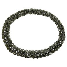 Elegant Gray Silver-tone Stretch Beaded Endless Necklace