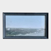 Jean W. Acheson, Sailboats Off Coast with Lighthouse Oil Painting