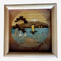 Miniature Marquetry Wood Inlay Picture Mt. Fuji Japan
