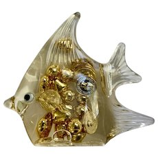 Fish Paperweight Acrylic with Faux Gold Hearts and Coins