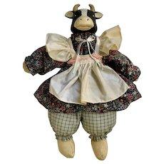 House of Lloyd Doll Cow Mrs. Moosley Stuffed Plush Animal Ceramic Head