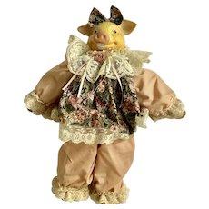 House of Lloyd Doll Pansy Pig Stuffed Plush Ceramic Head Animal 1993