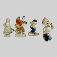 Mid-Century Bird, Elf, Boy and Girl Made in Japan Figurines Group