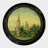 Russian Orthodox Church Plate Wooden Black Lacquer Hand Painted Signed