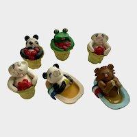 Clay Animal Figurines Koala Bears, Cats and Frog