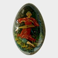 Hand Painted Russian Black Lacquer Egg