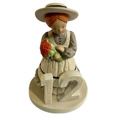 1980s Holly Hobbie 12th Birthday Girl Bisque Porcelain Figurine