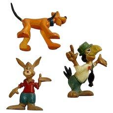 1960's Disneykins Pluto, Brer Rabbit & José Marx Walt Disney Productions Figurines