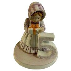1983 Holly Hobbie 5th Birthday Girl Bisque Porcelain Figurine