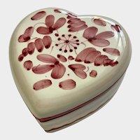Italian Valentine Heart Hand Painted Ceramic Trinket Box