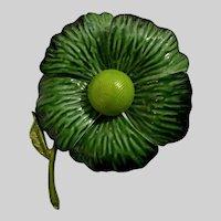 Mid-Century Green Enamel Large Metal Flower Pin Brooch