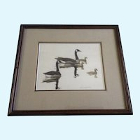 Bruce Summerfield, Geese Watercolor Painting Signed By Indiana Wildlife Artist