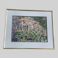 Susan Athens, Pink Hollyhock Garden Flowers Watercolor Painting