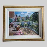 Jay Gentry, American Flag Backyard Landscape Oil Painting