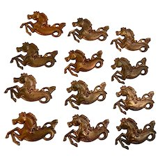 Vintage Seahorses Stamped Tin Copper Candy Molds