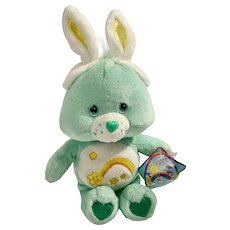 Wish Care Bear Plush Stuffed Animal Happy Easter Bunny Rabbit Ears 2003