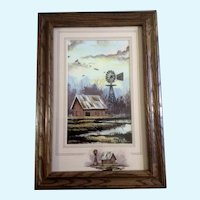 Roger T. Flythe (B 1942) Barn With Water Windmill Acrylic Painting Signed by Colorado and New Mexico Artist