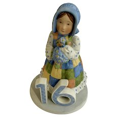 1980s Holly Hobbie 16th Birthday Girl Bisque Porcelain Figurine
