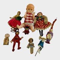 Mid-Century Miniature International Dollhouse Dolls Group