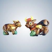 Salt & Pepper Shakers Bull Cow Mid-Century Palmar Japan S&P Figurines