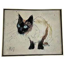 Mid-Century Fritz Rudolf Hug Blue Eyed Siamese Cat Print on Canvas Swiss Artist