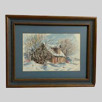 Marilyn Palmer, House in Winter Watercolor Painting