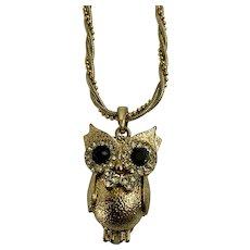 3D Gold-tone Faux Diamond Rhinestone Owl Necklace