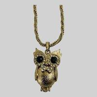 Witty 3D Gold-tone Faux Diamond Rhinestone Owl Necklace