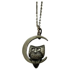 Pewter Owl In Crescent Moon Small Charm on Chain Necklace