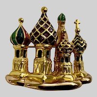 Joan Rivers Saint Basil's Russian Cathedral of Vasily Gold-tone Enamel Brooch Pin