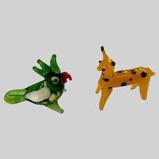 Miniature Giraffe with Parrot Bird Friend Hand Blown Glass Animals