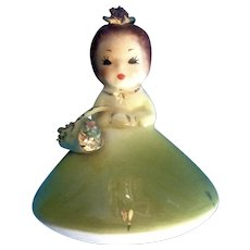 Josef Originals Mushroom Girl Birthday May Vintage Japan American Beauty Series Ceramic Figurine California