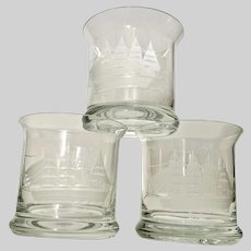 Clipper by Toscany Crystal Ship Etched Design Rocks Glasses Hand Made Romania