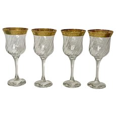 Gold Trim Crystal Swirl Optic Wine Water Glasses
