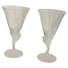 Wings Frosted Bird Water Cocktail Glasses By Sasaki Made in Japan